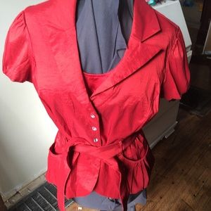 Cachet satiny red blazer with shell